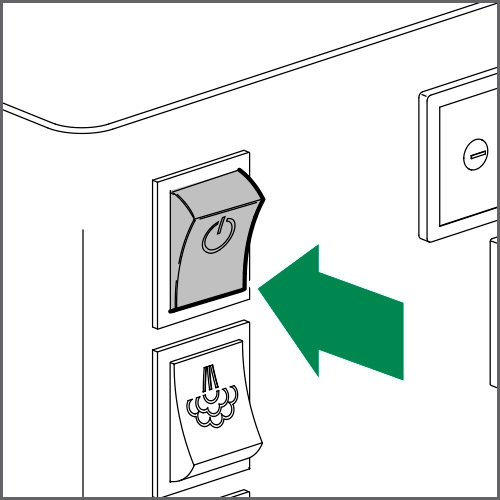 Switch on the machine by shifting the main switch to ON