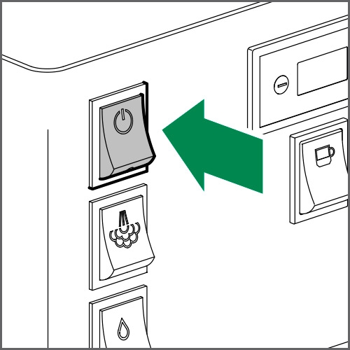 Shift the main switch to OFF to switch off the machine
